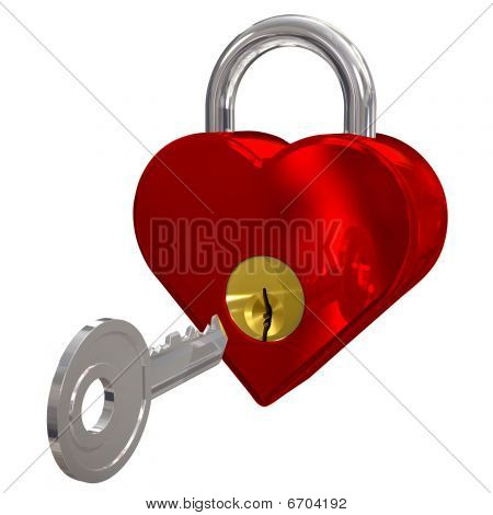 Red Heart Shaped Padlock With Key And Clipping Path