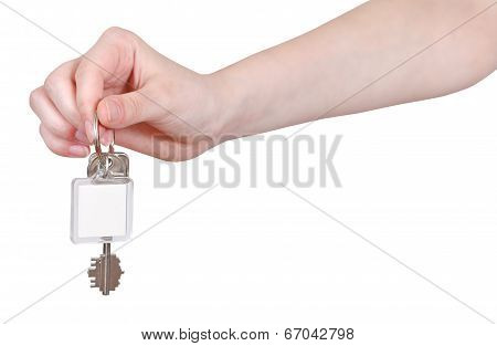 Hand With Blank Key Fob Isolated On White