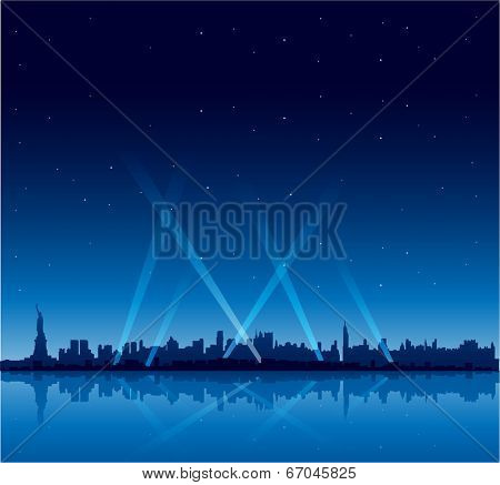 New York city at night copyspace background