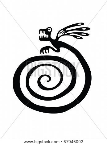 Black lizard or dragon in native style, vector illustration