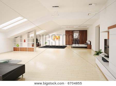 Interior Of Penthouse 3D Render