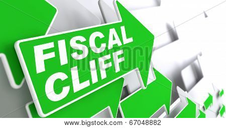 Fiscal Cliff on Green Direction Arrow Sign.