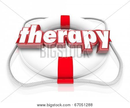 Therapy word on a life preserver as health care treatment, help or assistance
