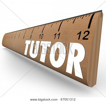 Tutor word on a ruler measuring skills and knowledge as a teacher educates a student