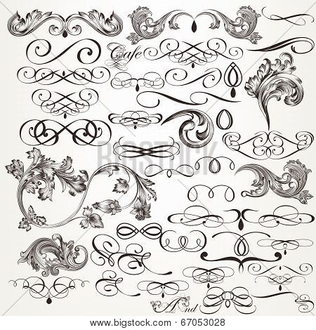 Vector Set Of Decorative Flourishes For Design