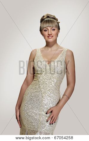 Wedding dress on young woman