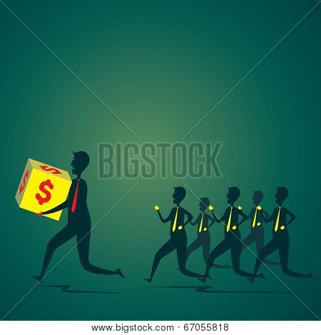men run with money box other member follow to catch the money box concept