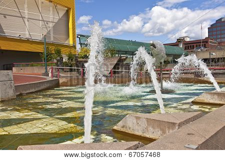 Downtown Fountain Tacoma Washington.