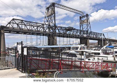 Port Of Tacoma Bridge And Marina Washington State.