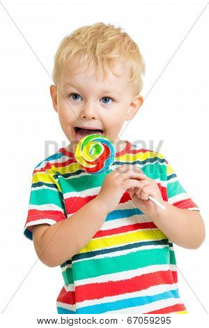 Kid Boy Eating Lollipop Isolated