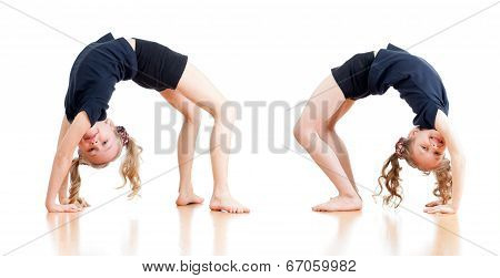 Two Young Girls Doing Gymnastics Over White Background