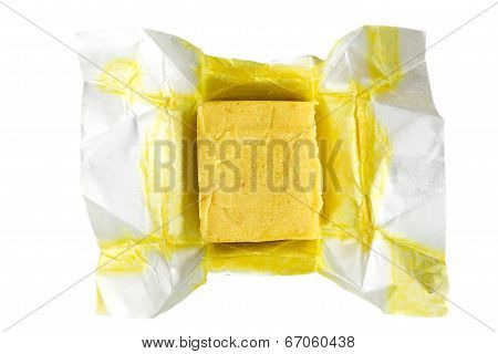 Bouillon soup cube for cooking on white background