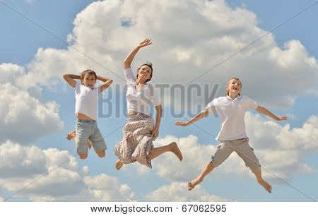 Happy mother jumping