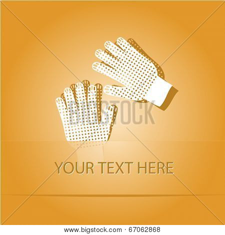 Gauntlets. Paper sticker as bookmark. Vector illustration. Eps10.
