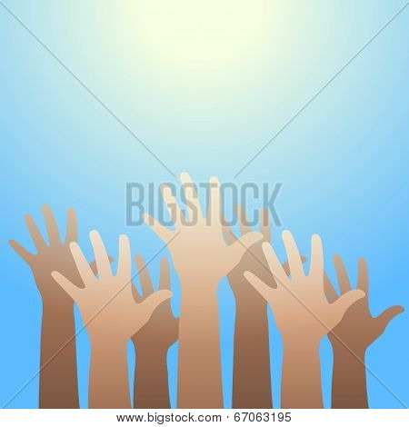 Hands Raised Up To The Light. Faith And Hope Concept.