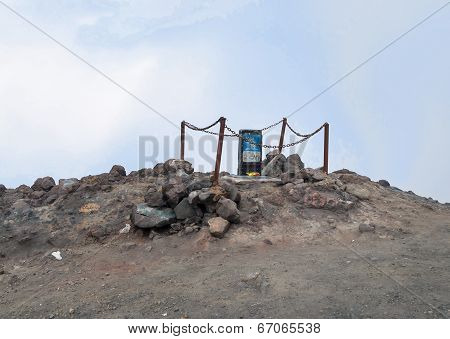 Monument Near The Top Of Volcano Merapi
