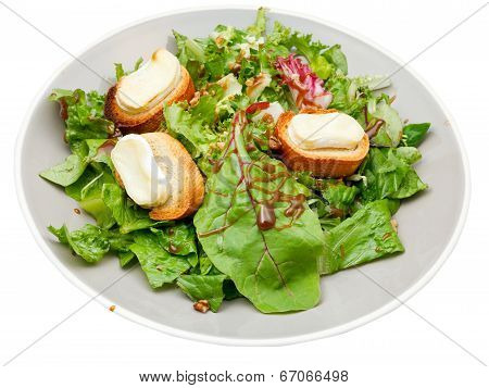 Green Salad With Goat Cheese On Plate