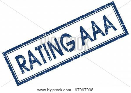 Rating Aaa Blue Square Grungy Stamp Isolated On White Background