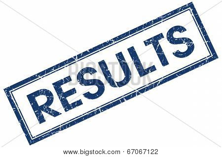 Results Blue Square Grungy Stamp Isolated On White Background