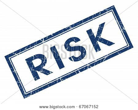 Risk Blue Square Grungy Stamp Isolated On White Background