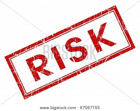 Risk Red Square Grungy Stamp Isolated On White Background