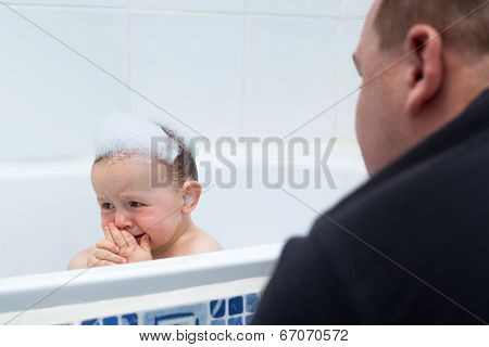 Baby Boy Crying In Bath