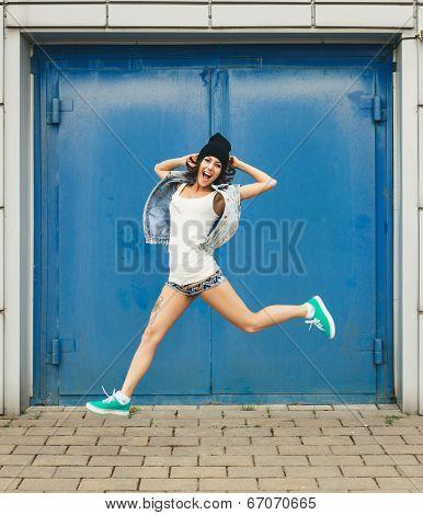Portrait Of Happy Funny Teenage Girl Having Fun