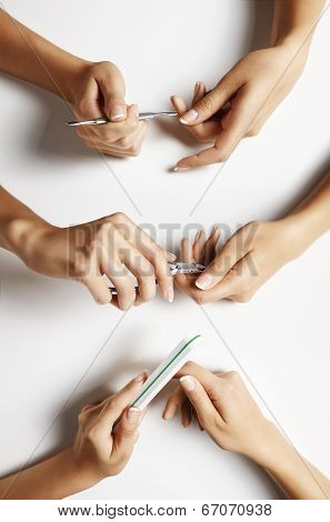Set With A Female Hands, Making Manicure