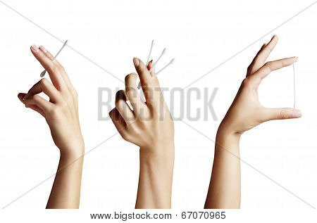 Set Of A Woman Manicured Hands With Cotton Bud-stick