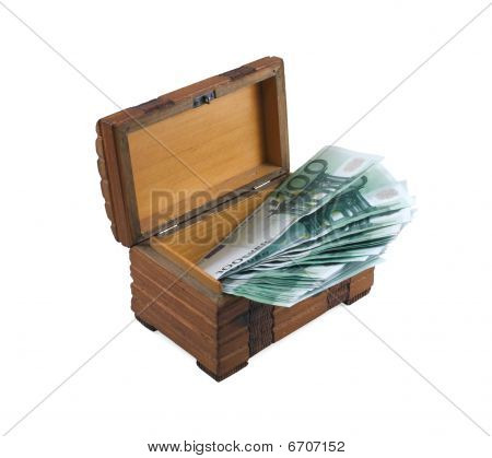 Euros in the wooden chest