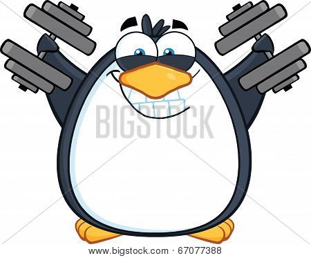 Smiling Penguin Cartoon Character Training With Dumbbells