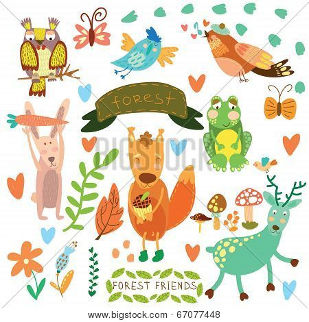Vector Set Of Cute Woodland And Forest Animals.squirrel,rabbit, Nightingale, Frog, Deer, Owl, Bird,