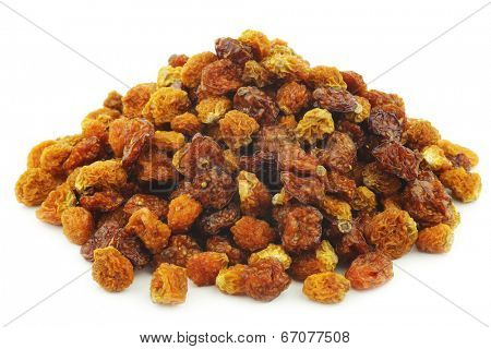 Dried Cape gooseberries ((Physalis peruviana) on white background