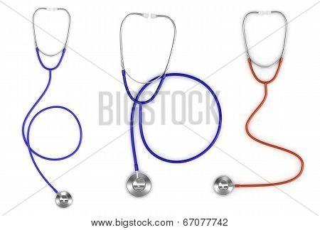 stethoscopes set in white background