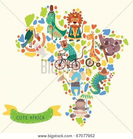 Map Of Africa With Cute Animals In Vector. African Animals Set: Jaguar, Giraffe, Hippopotamus, Iguan
