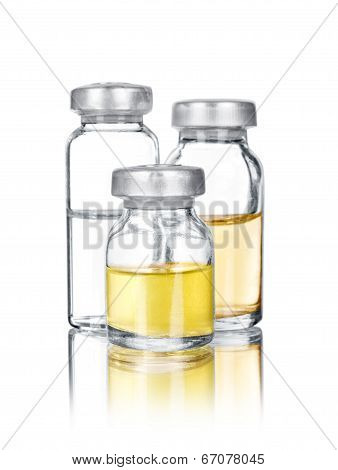 Medical Ampoules With Reflection Isolated On White