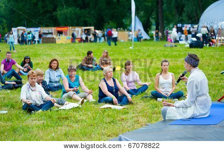 MOSCOW - JUNE 14: People attend open-air concert on XI International Jazz Festival
