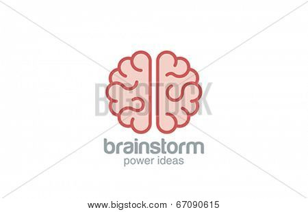 Brain flat style vector logo design. Brainstorm concept. Brainstorming creative idea abstract icon