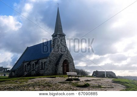 Church Notre Dame de la Garde chapel, Etretat village, Normandy, France, Europe.