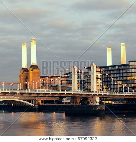 Battersea Power Station over Thames river as the famous London landmark.
