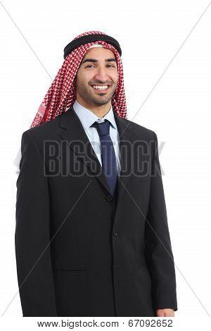 Arab Saudi Emirates Businessman Posing Smiling Standing
