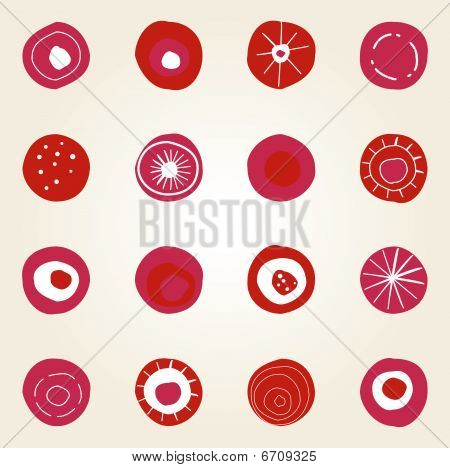 Simple illustrated card design with red pink and orange dots
