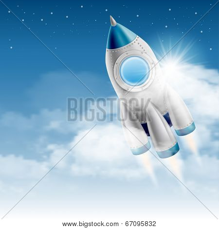 Space rocket takes off from the clouds to the starry sky. Vector illustration.