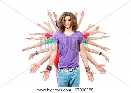 Large group of cheerful young people standing one after another holding hands at the side. Isolated over white.