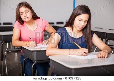 Girl Cheating In A Test