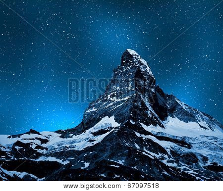 Matterhorn in night sky - Swiss Alps