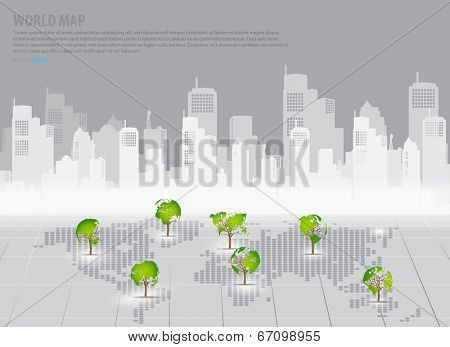 Green economy concept : Tree shaped world map with building background. Vector illustration.
