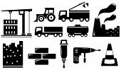 picture of dumper  - set black industrial objects and tools silhouette - JPG