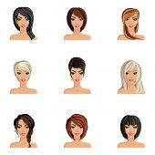foto of avatar  - Young woman girl avatars set with haircut styles isolated vector illustration - JPG