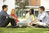 stock photo of late 20s  - Mixed group of students outside college - JPG